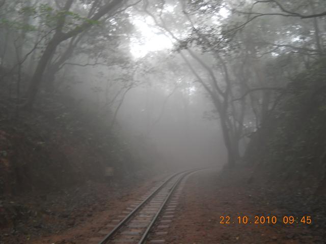 Smog View Near Toy Train Tracks