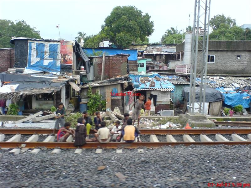 Slums Near Local Train Railway Tracks