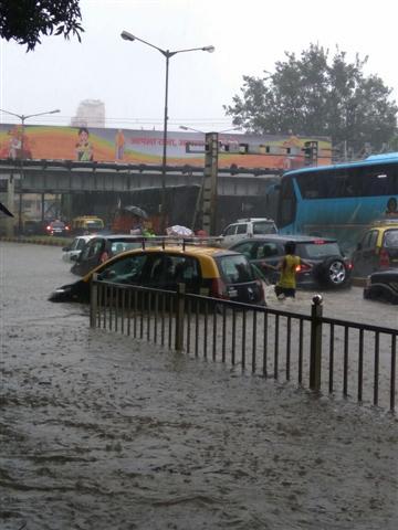 A Car Sinked in Flood on SV Road