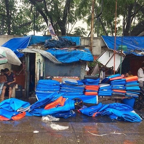 Plastic Sheets Seller on Street
