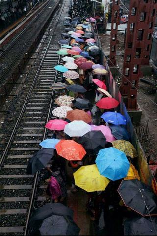 Colourful Umbrellas On Borivali Station