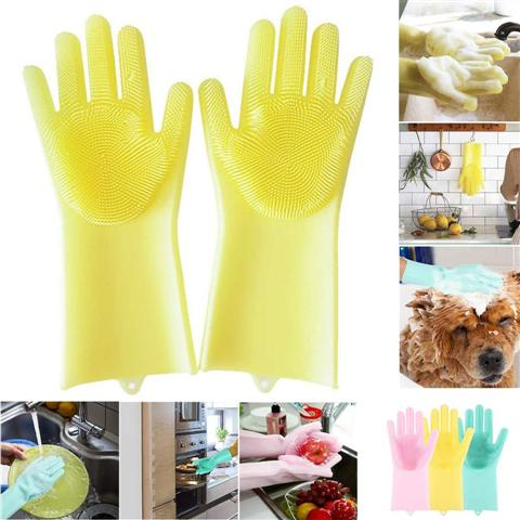 Silicone Kitchen Gloves With Scrubber