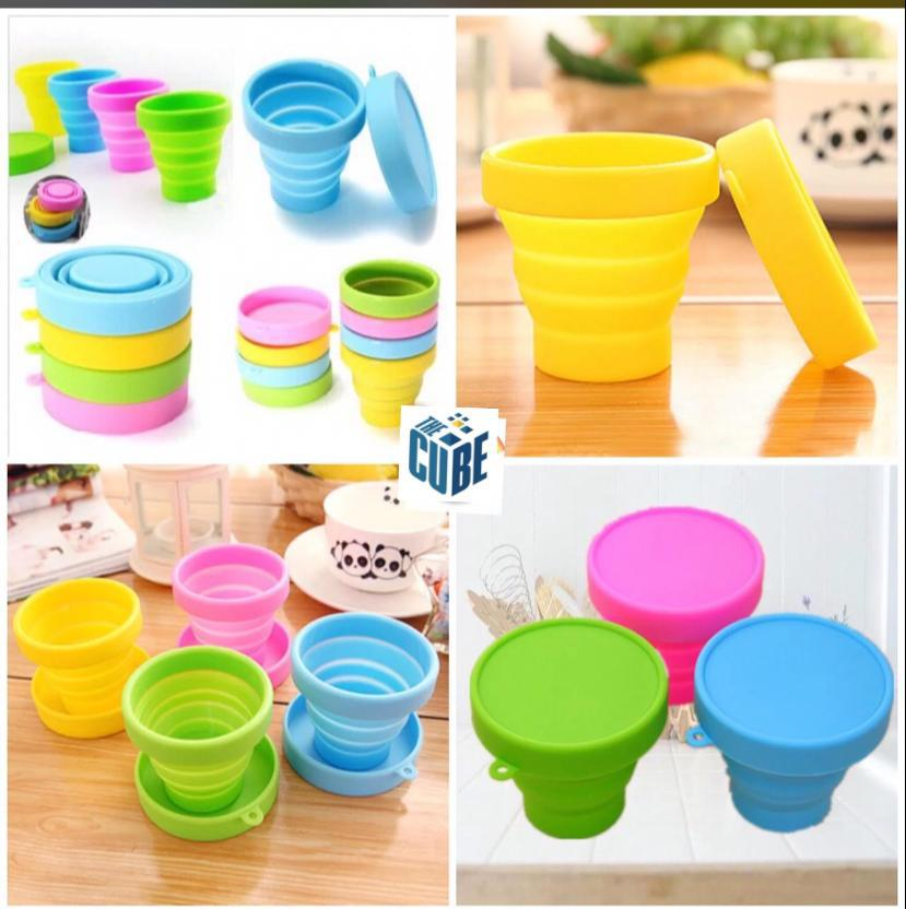 Foldable Silicone Kids Glass With Lid