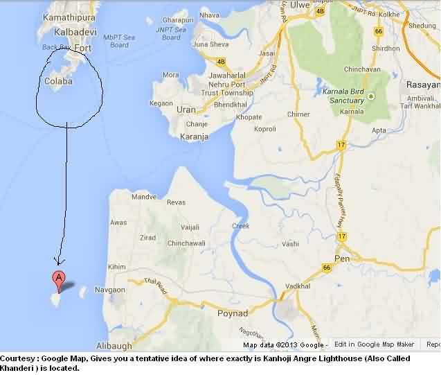 Kanhoji Angre Lighthouse Google Map