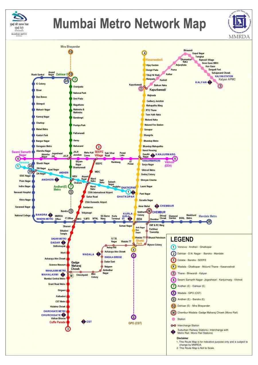 2 3 Train Subway Map.Mumbai Metro Trains 2019 Routes Timetable Fares Stations
