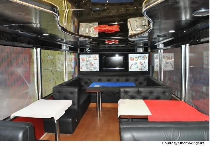 Inside Mobile Restaurant  Bus