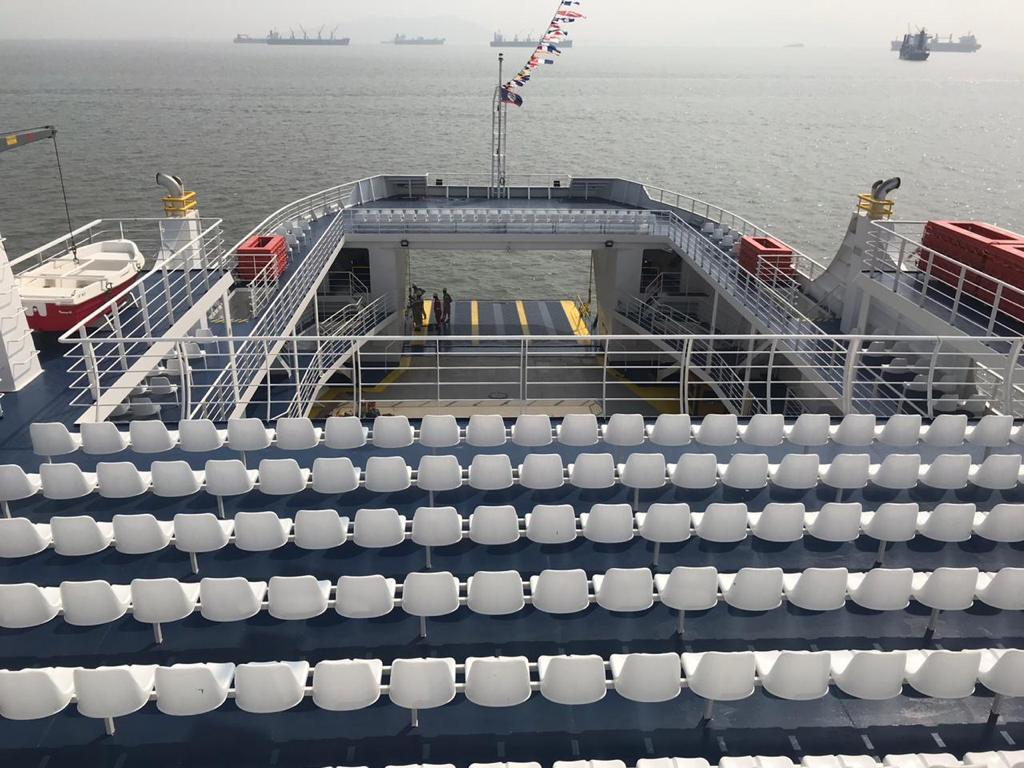 Upper Deck View of Ro-Ro Ship