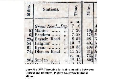 Mumbai Baroda First Timetable