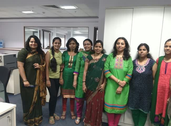 Mumbai Corporate  Girls On Navratri Green Color Day