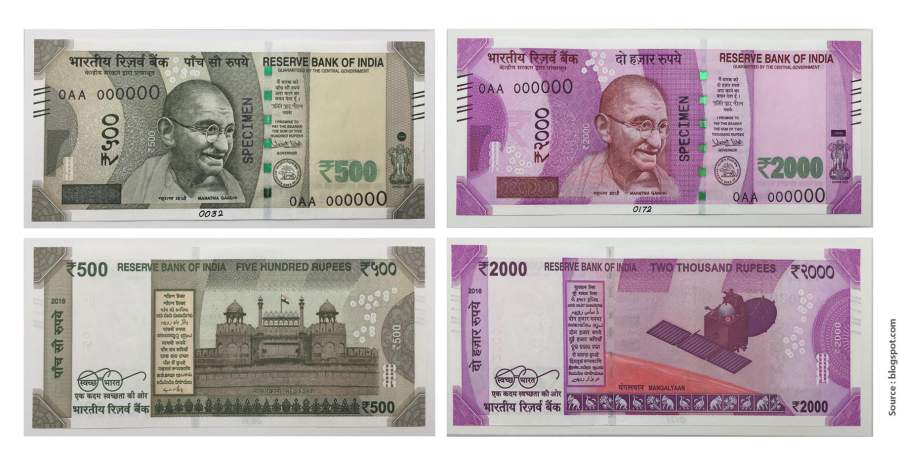 Back and Front of New Rs. 500 and 1000 Currency Notes