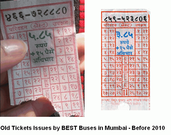 Old Tickets in BEST Buses