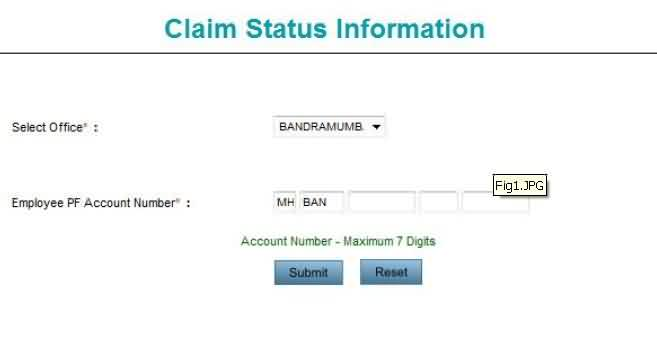 PF Form Claim Status Check Step 1