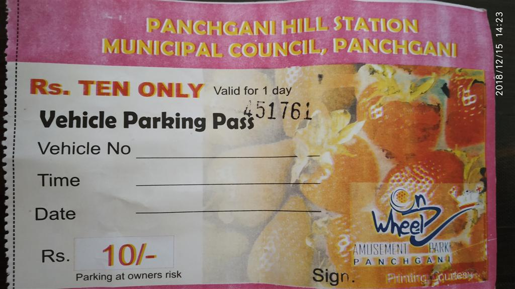 Panchgani Car Parking Receipt