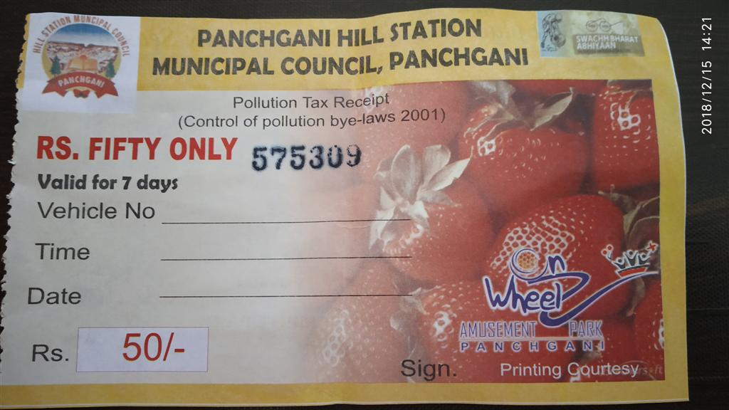 Panchgani Pollution Tax Receipt