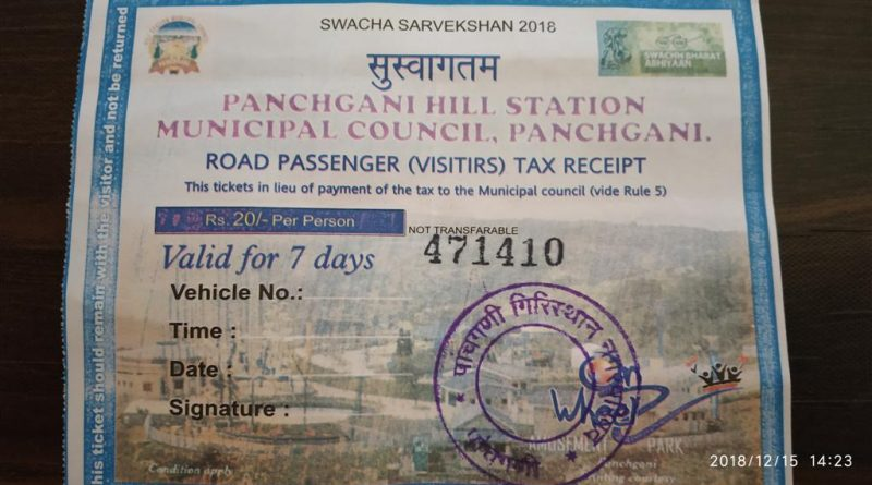Panchgani Road Tax Receipt