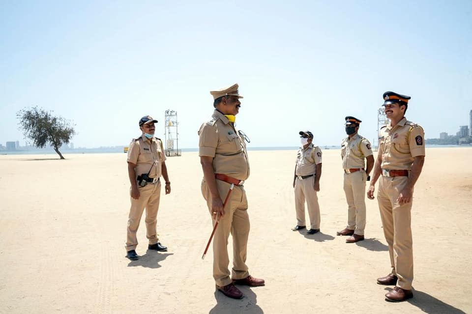 Police Officers On Girgaum Chowpatty