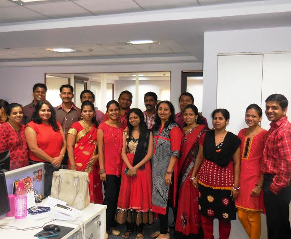 Group Wearing Red Colour Day Dress