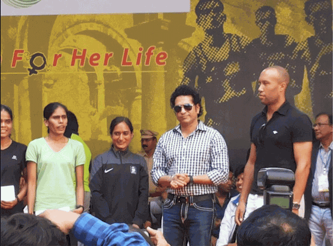 Sachin Tendulkar at Virar Marathon 2014 Event