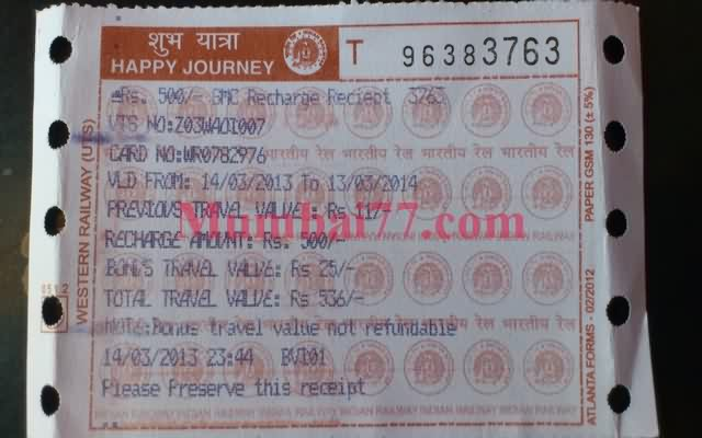 Smart Card Ticket Receipt - Mumbai Local Trains