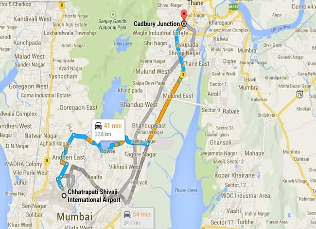 T2 to Thane Route Map
