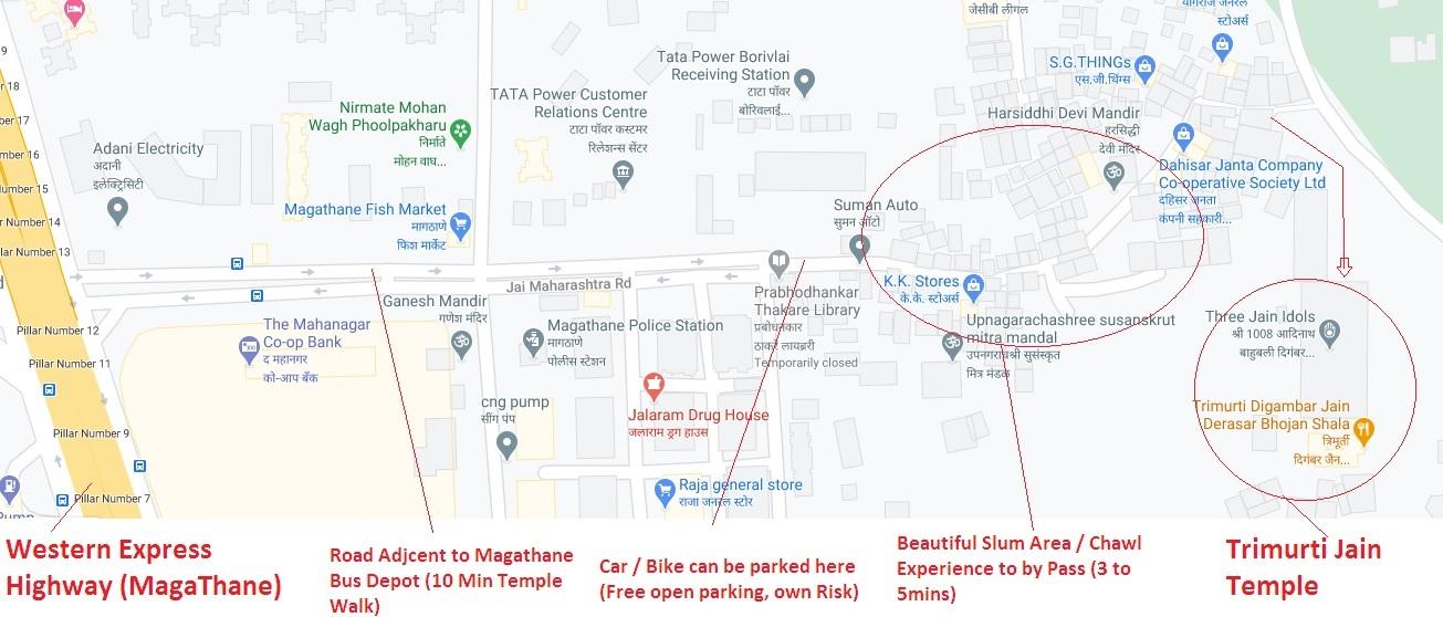 Trimurti Jain Temple Route Map