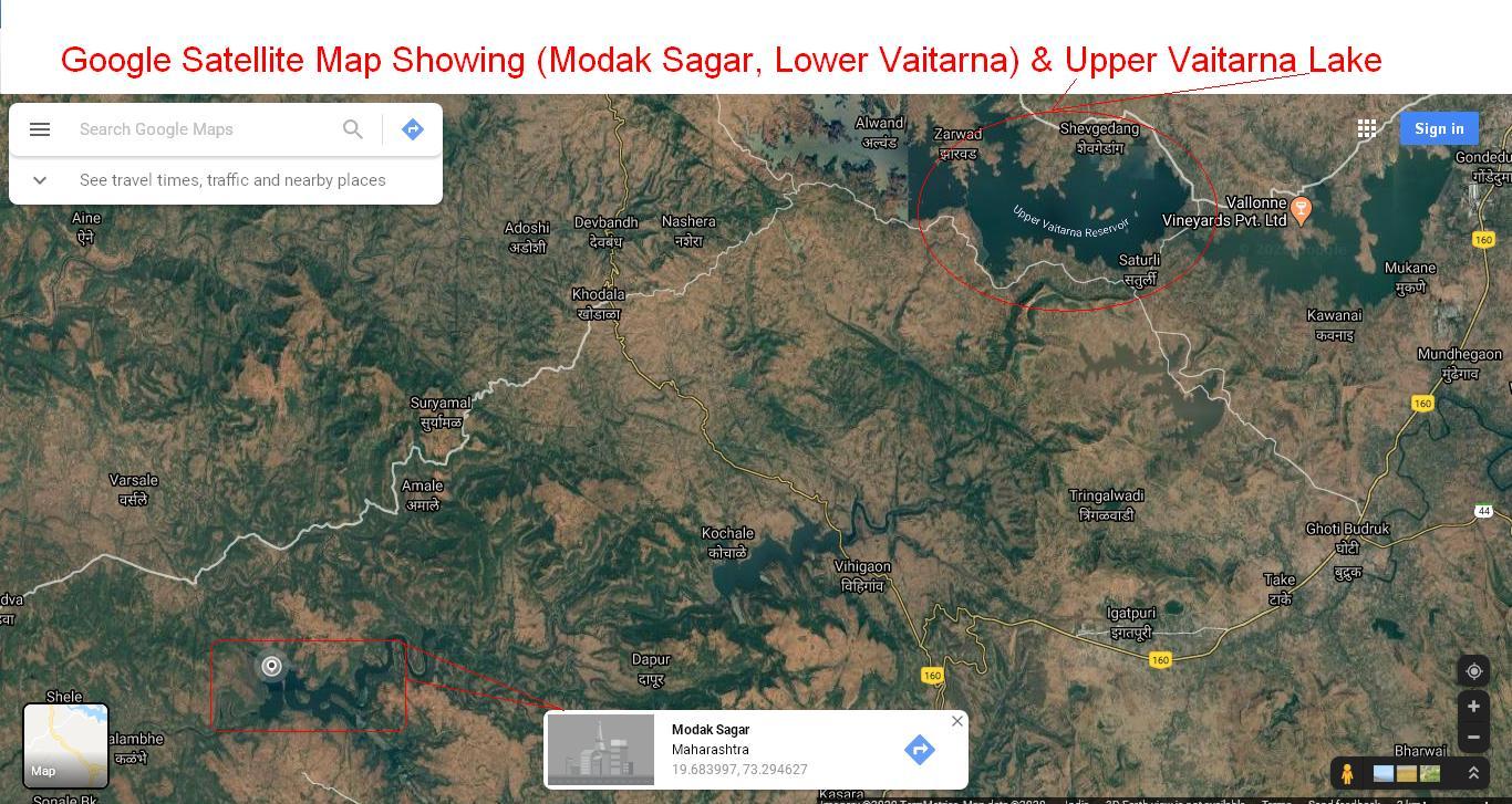 Vaitarna Modak Sagar Lake Map