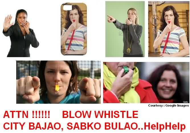 Woman Blowing Whistle