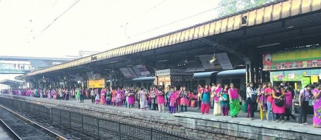 Pink Colour Dressing On Railway Platform