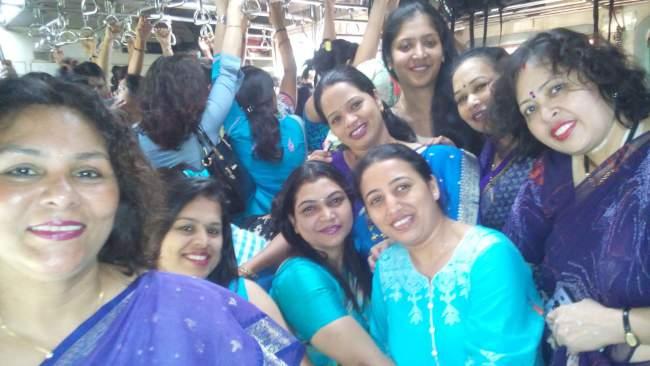 Sky Blue Colour Dressing Inside Local Train Group